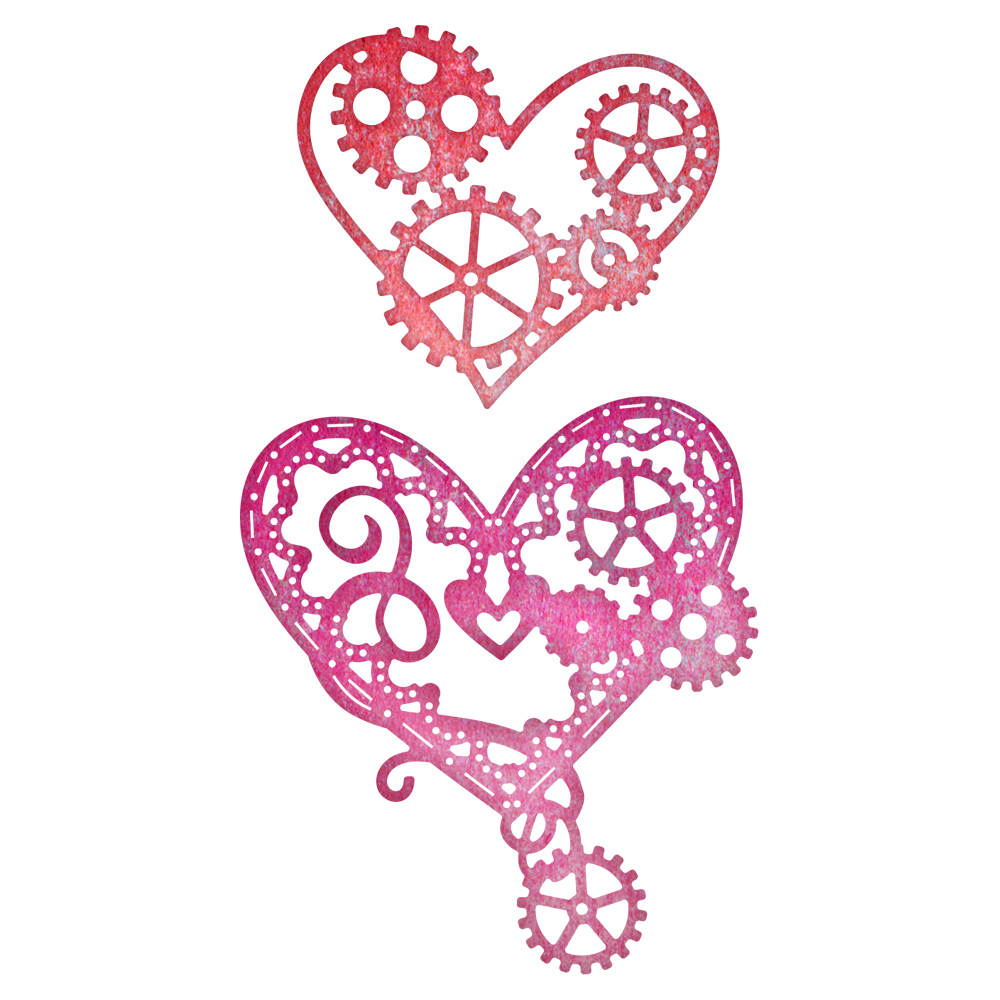 Cheery Lynn Designs - Hearts 'N Gears 2 Piece Die Set - B378