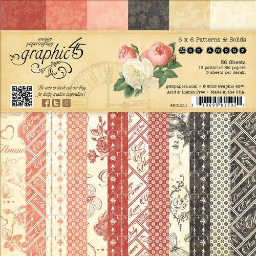 "Graphic 45 Double-Sided Paper Pad 6""X6"" 36/Pkg Mon Amour, Prints & Solids"