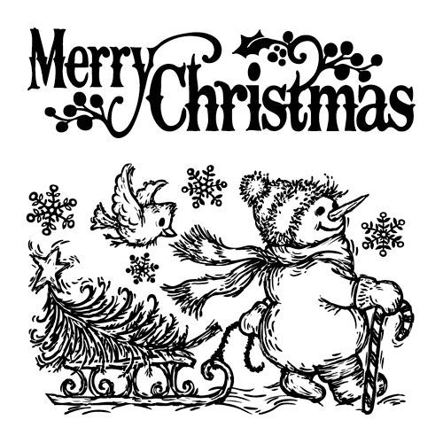 Inkadinkado Cling Stamps - Merry Christmas Snowman
