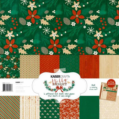 "Holly Bright Paper Pack 12""X12"" 6 Double-Sided Designs/2 Each + Stickers"