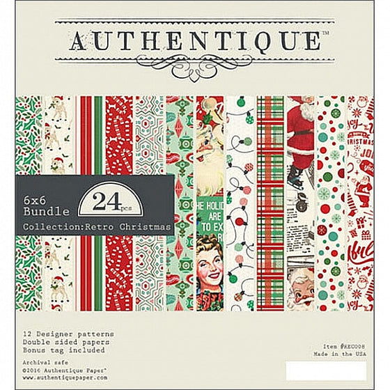 "Authentique Double-Sided Cardstock Pad 6""X6"" 24/Pkg Retro Christmas"