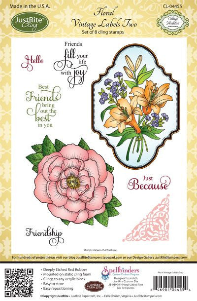 JustRite Papercraft Cling Stamps - Florals Vintage Labels Two