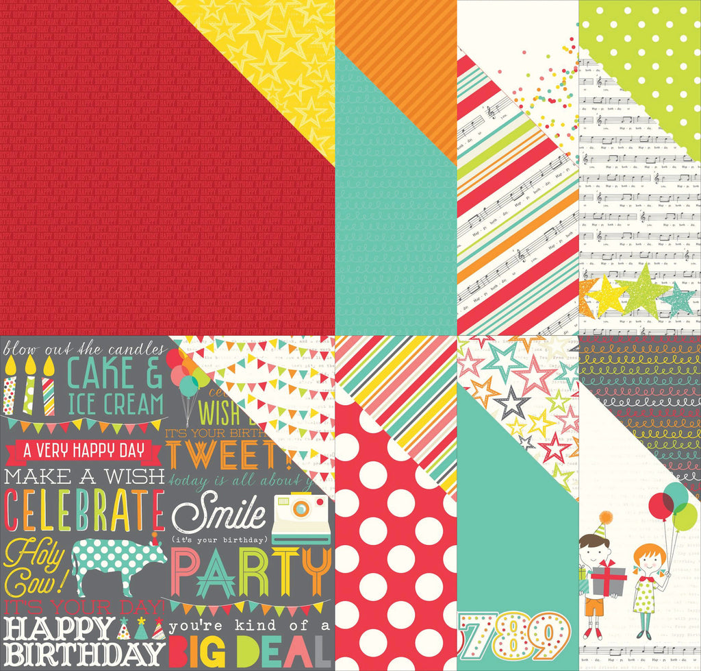 "Simple Stories Let's Party Double-Sided Cardstocks 12""X12"""