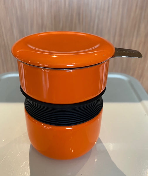 Carrot Asian style tea mug with infuser & lid