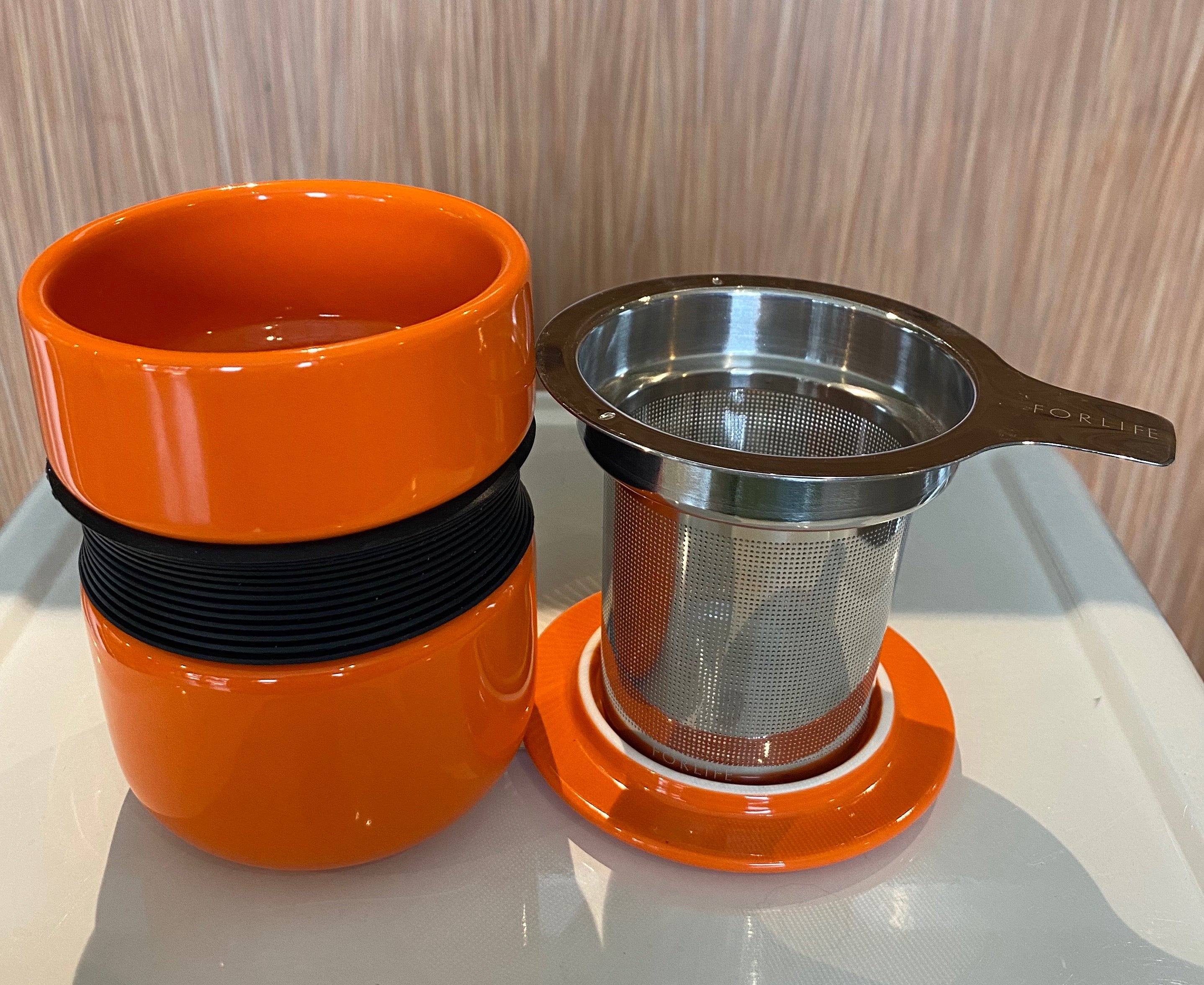 Carrot Asian style tea mug with infuser & lid, For Life brand