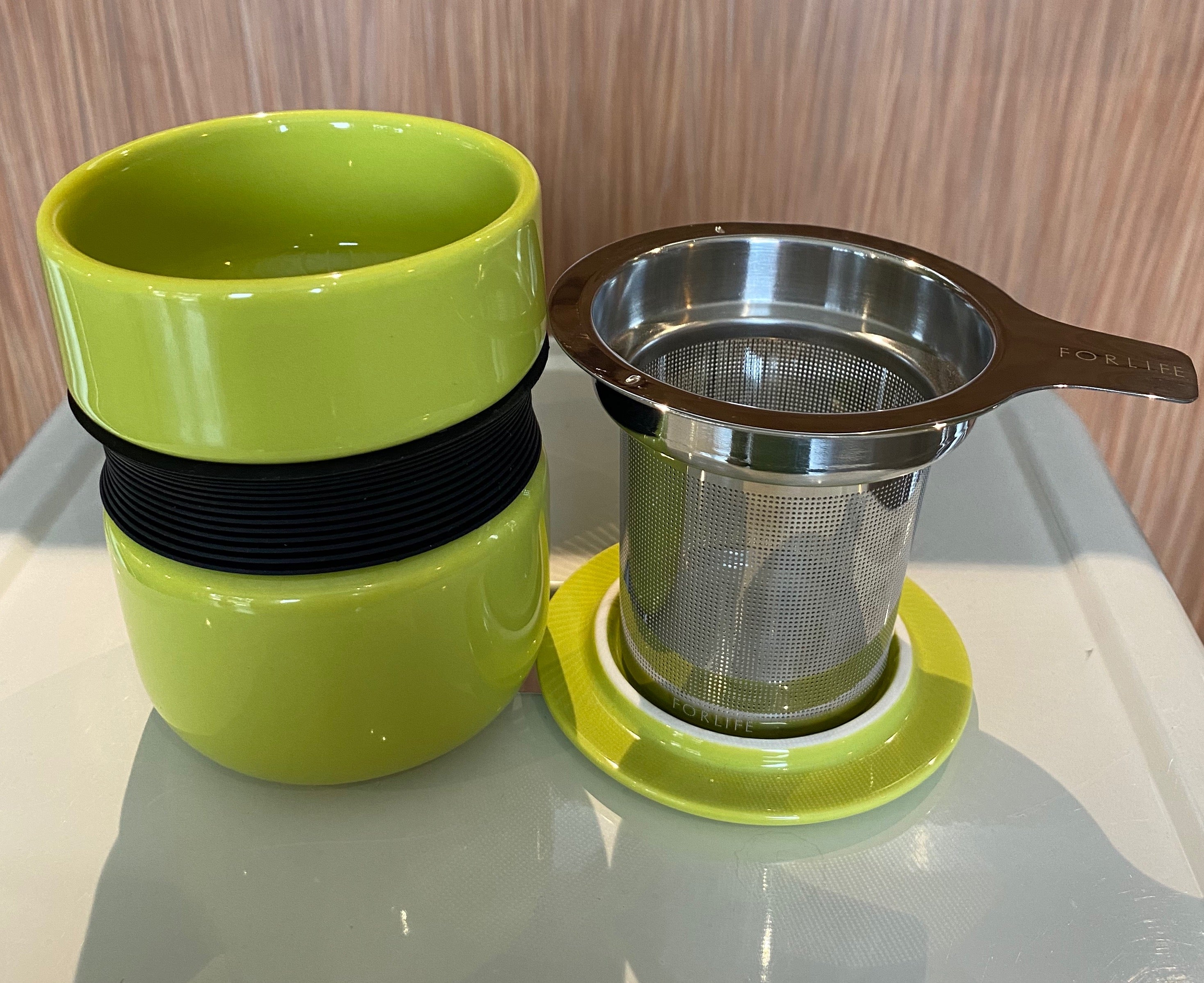 Lime Asian style tea mug with infuser & lid, For Life brand