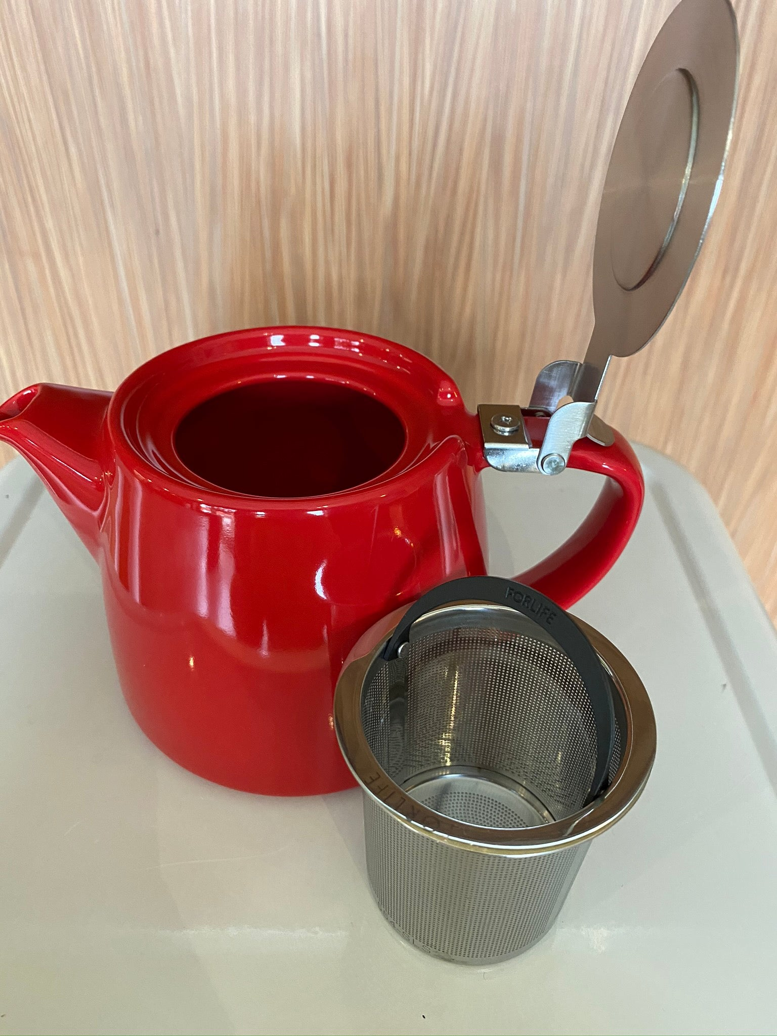 Red stump teapot, For Life brand