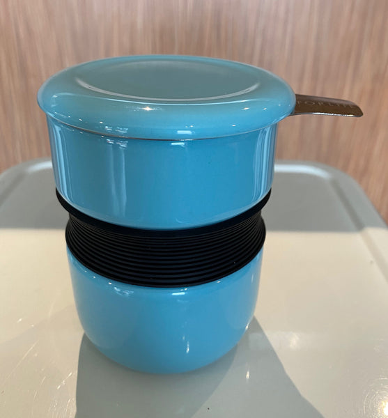 Turquoise Asian style tea mug with infuser & lid