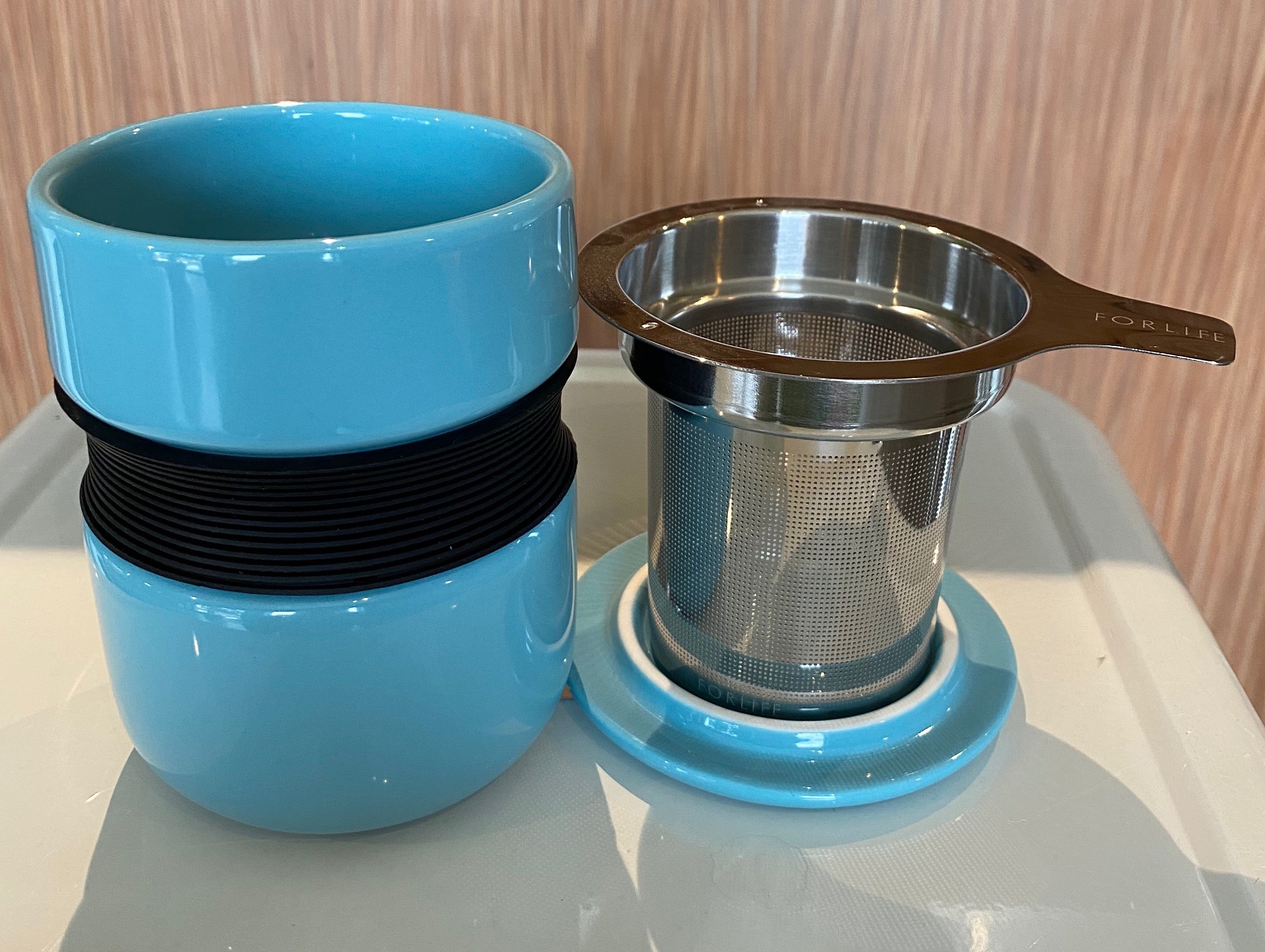 Turquoise Asian style tea mug with infuser & lid, For Life brand