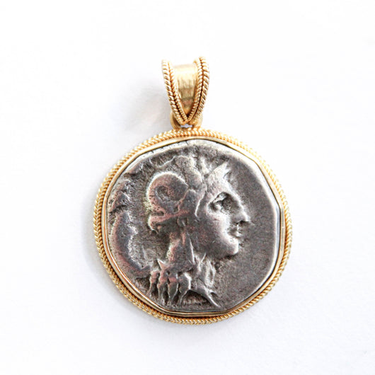 Athena, Greek Goddess of Wisdom on Ancient Silver Coin (425-400 B.C.E.) | 18K solid gold handcrafted setting