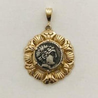 Authentic Ancient Greek Coin with Detailed Image of Apollo, Greek god of Sun, Music and Arts |  Unique One-of-a-kind 14K gold pendant