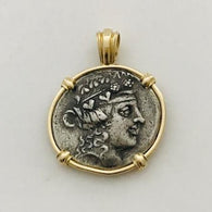 Profile of Dionysus, Greek god of wine set in 14K gold