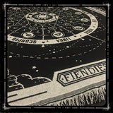 A low shot of the Fiendies astral Planes zodiac throw blanket