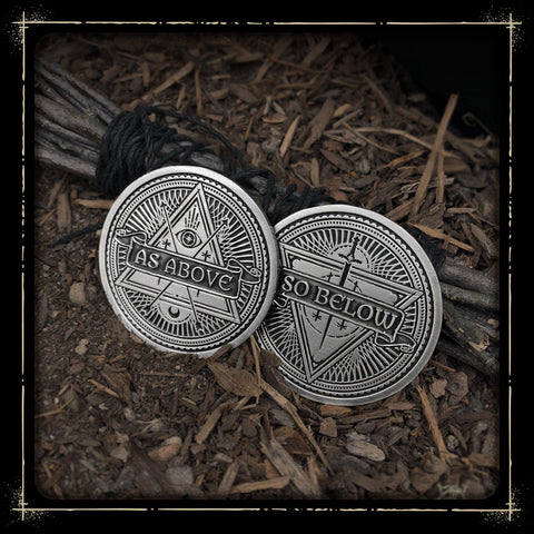 As Above So Below Coin // Antiqued Silver