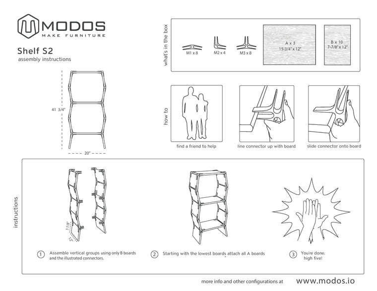 Assembly Instructions For 2 Cell Shelf by Modos
