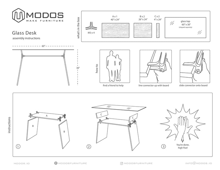 Assembly Instructions for D1 Desk by Modos