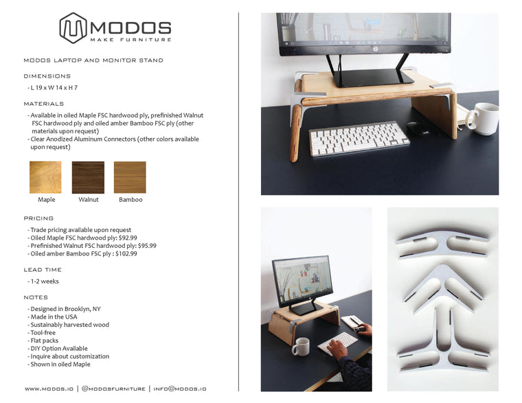 Tear Sheet for Monitor and Laptop Stand by Modos