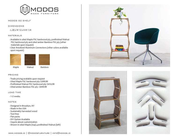 Tear Sheet For 2 Cell Shelf by Modos