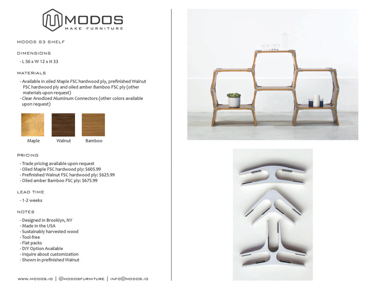 Tear Sheet For The 3 Cell Shelf by Modos