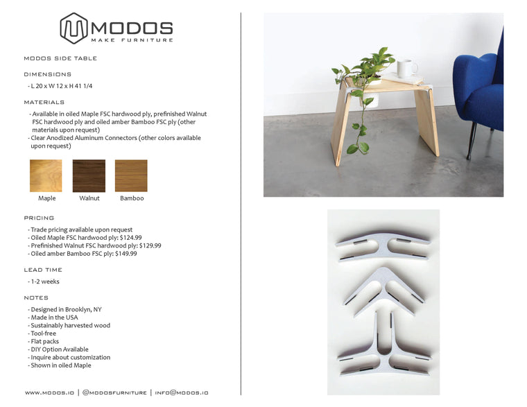 Tear Sheet for Planter Side Table by Modos