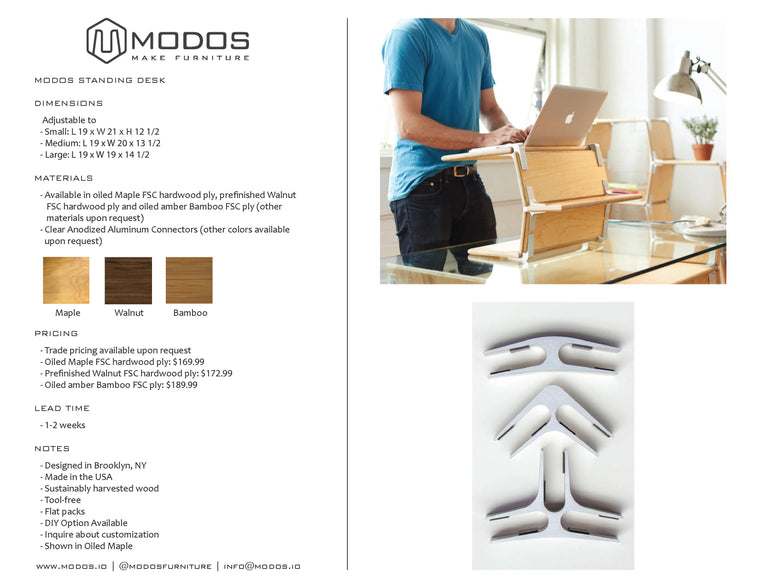 Tear Sheet for the Standing Desk by Modos