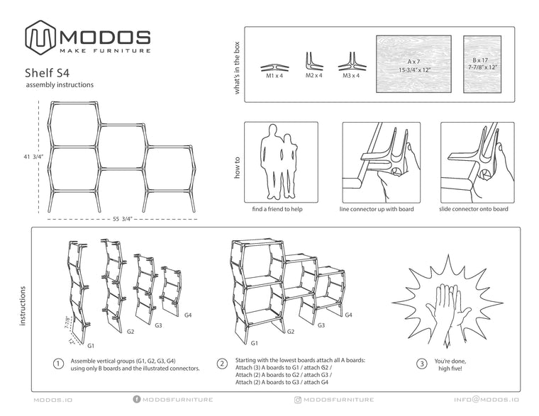 Assembly Instructions For 4 Cell Shelf by Modos