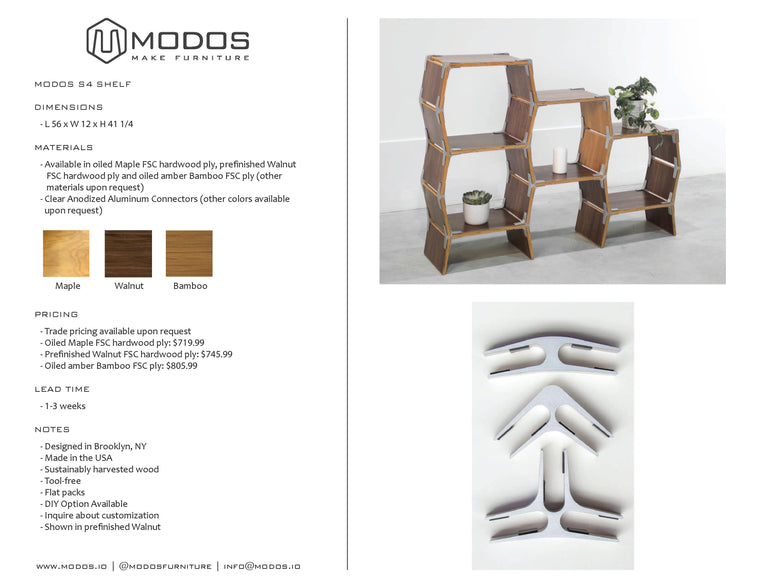 Tear Sheet For 4 Cell Shelf by Modos