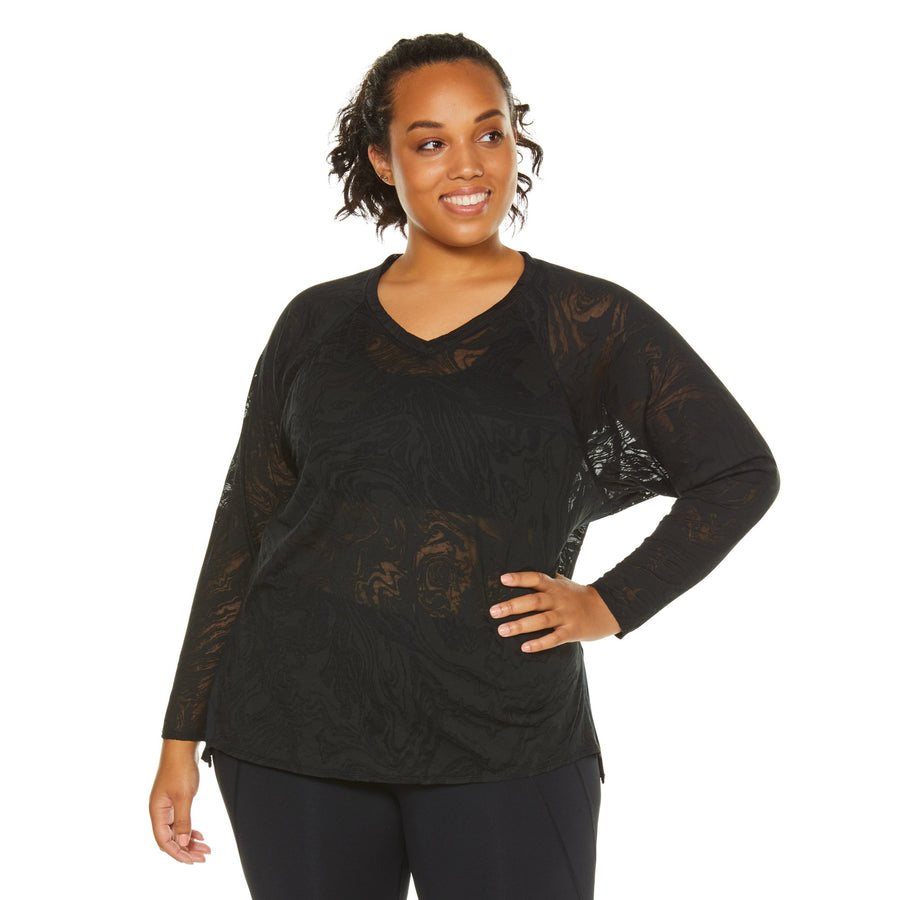 LUSH CROP BURNOUT L/S TEE (PLUS SIZE)