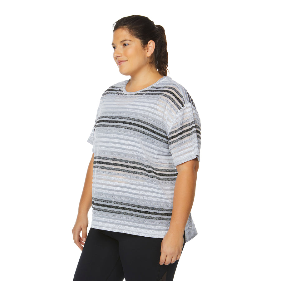 CAPTIVATE STRIPED MESH JACQUARD TEE (PLUS SIZE)