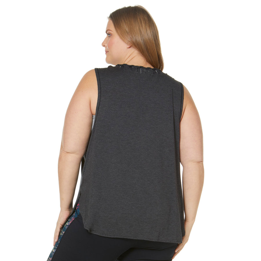 CUT OUT DRAPED BACK TANK (PLUS SIZE)