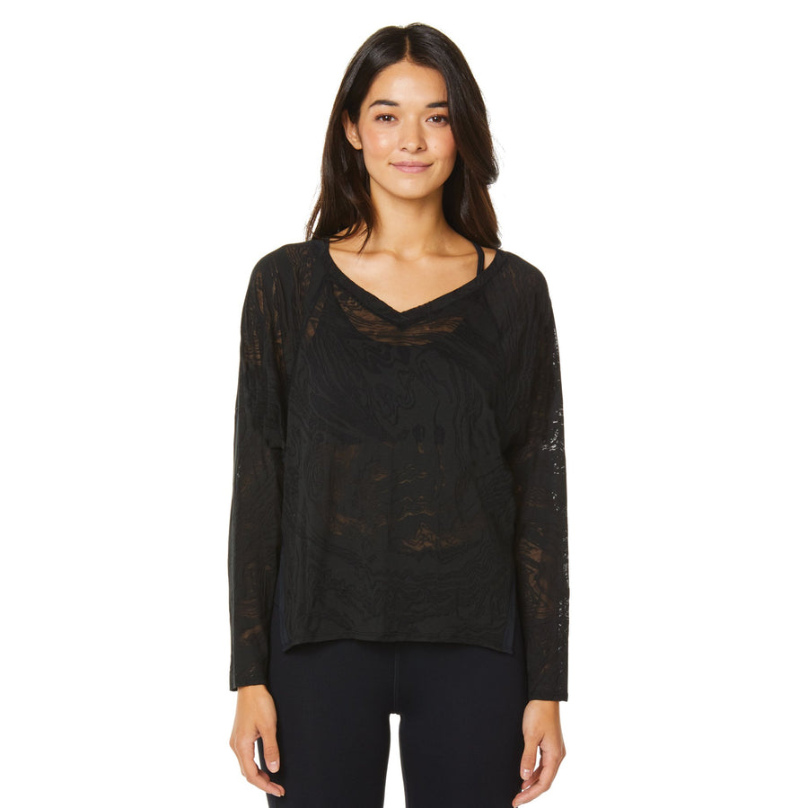 LUSH CROP BURNOUT L/S TEE