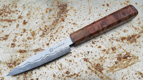 Hyphen Cutlery 110mm San Mai Damascus Paring