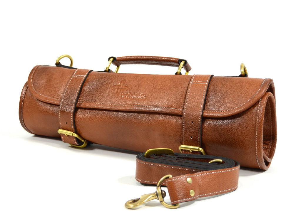 Leather 9 Pocket Knife Roll (Tan)