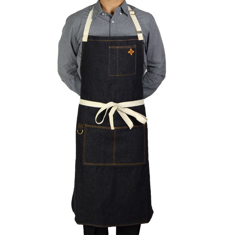 Boldric Charcoal Black Denim Apron (FREE SHIPPING)