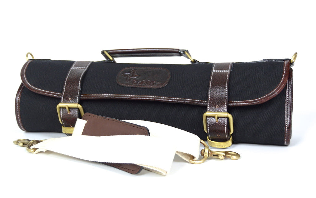 Boldric Black 9 Pocket Canvas Roll Knife Bag