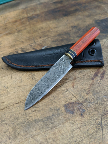 Black Blade Knives Mini Knife with Orange Wa handle (Includes Sheath)