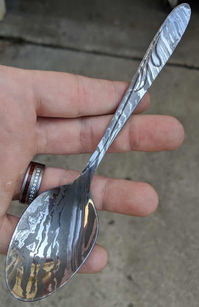 Black Blade Damascus Teaspoon (Polished)
