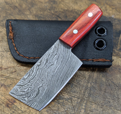 Black Blade Knives Mini Cleaver with Red - Orange handle (Includes Sheath)