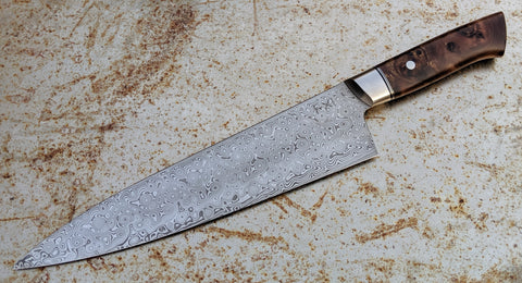 TX Knives by Steffan Toksvig 235mm Damasteel Gyuto with Elm Burl Saya