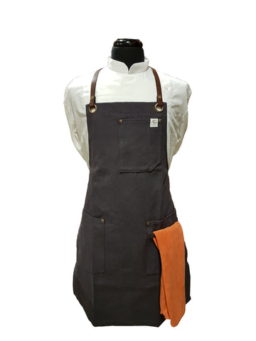Chef's Satchel LEATHER STRAP WAXED CANVAS APRONS - Dark Blue