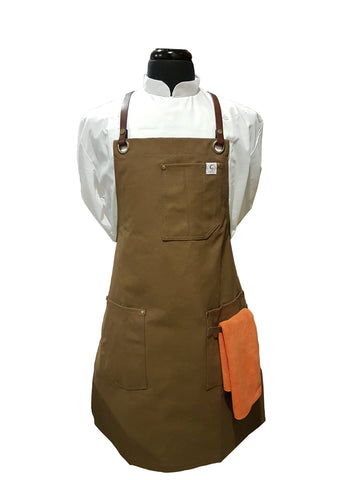 Chef's Satchel LEATHER STRAP WAXED CANVAS APRONS - Khaki