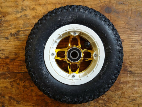 Crossair Vegas White/Gold 200 x 50 Mountainboard Kiteboard wheel, hub, tube, bearing