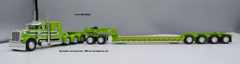 "Lime/White/Dark Green Peterbilt 379 Tri Axle 63"" Flattop Sleeper with Lime Fontaine Heavy Haul Lowboy with Lime Jeep, Spreader, and Flip Axle"