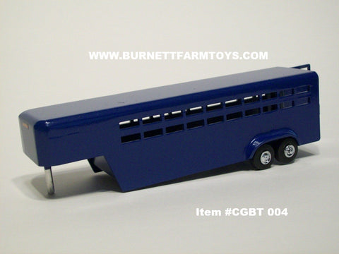 Item #CGBT 004 Blue Tandem Axle Livestock Gooseneck Trailer with Side Swinging Rear Door