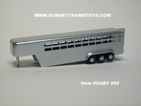 Item #CGBT 005 Silver 3-Axle Livestock Gooseneck Trailer with Side Swinging Rear Door