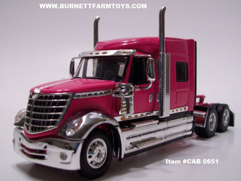 Item #CAB 0651 Pink International Lonestar Mid-Roof Sleeper Cab - 1/64 Scale