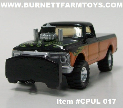 Item #CPUL 017 Burnt Orange Black Flame 1972 Chevrolet Cheyenne Four Wheel Drive Pulling Truck