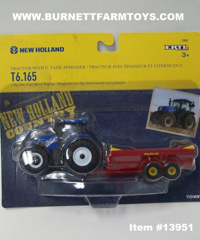 Item #13951 New Holland T6.165 Tractor with V-Tank Spreader - 1/64 Scale