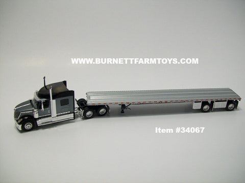 Item #34067 Gray Black International Lonestar Sleeper with Silver Deck Black Frame Spread Axle Flatbed Trailer - 1/64 Scale