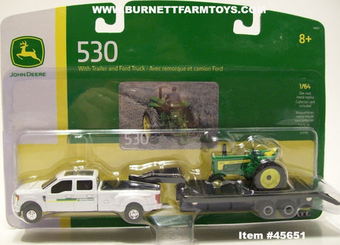Item #45651 John Deere 530 with White 4-Door Dually Pickup Truck and Gooseneck Trailer